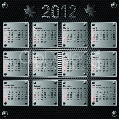 Stylish calendar with metallic  effect for 2012. Sundays first
