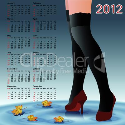 2012 Calendar female legs in stockings
