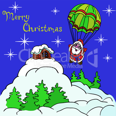 Cheerful Santa Claus goes down from the sky on a parachute.