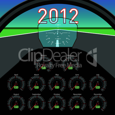 Stylish calendar  in the form of instruments in the cockpit for 2012.