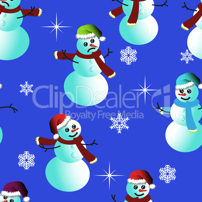 Seamless wallpaper from snowman and snowflakes