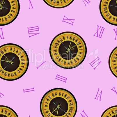 The vintage  clock shortly before midnight. vector, seamless wallpaper.