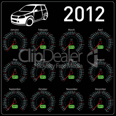 2012 year сalendar speedometer car in vector.
