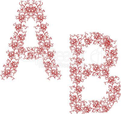 Hand drawing ornamental alphabet.