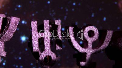 Astrology planets, purple space closeup