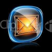 Envelope icon neon, isolated on black background