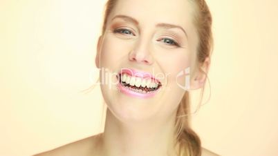 closeup of beautiful laughing woman