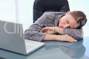 Young businesswoman sleeping