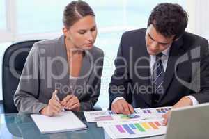 Business team studying statistics