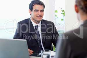 Young manager interviewing a female applicant