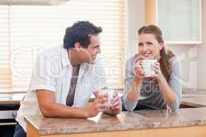 Couple taking a coffee break together