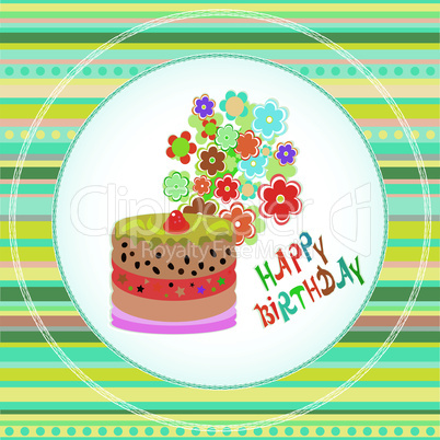 Happy birthday cakes flower design. vector Celebration card