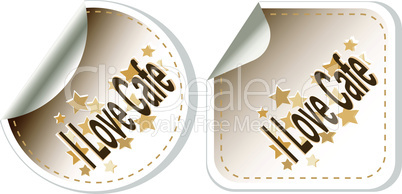 vector I love cafe stickers set for restaurant