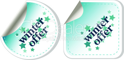 Special winter offer blue stickers vector set