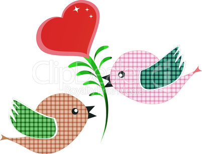 two bird with red heart isolated on white vector background
