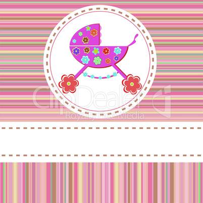 Stroller of flowers for baby girls. vector