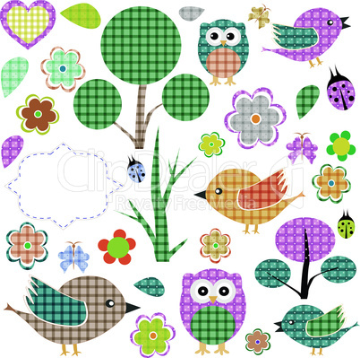 nature textile stickers vector Set