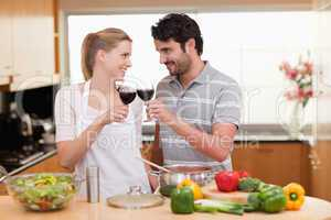 Lovely couple drinking a glass of wine