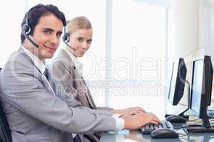 Operators using a monitor