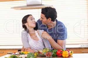 Man feeding his fiance