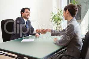 Smiling manager interviewing a good looking applicant