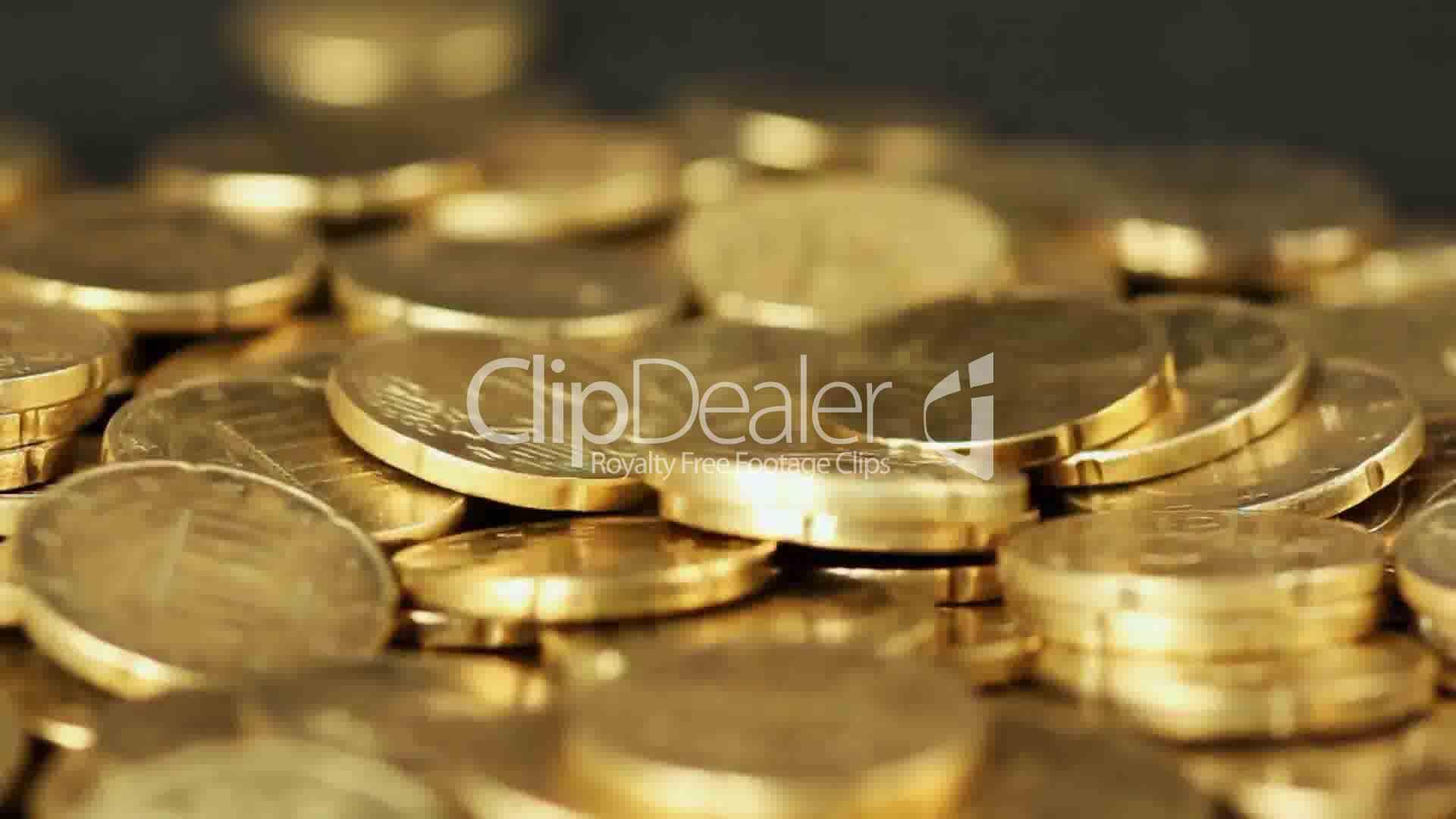 Many European Cent Coins Raining Down Lizenzfreie Stock Videos Und