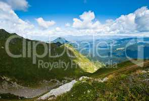 Carpathian mountains in Ukraine and Romania: on the ridge