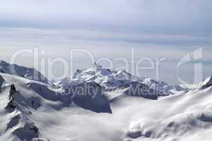 Caucasus Mountains. View from mount Elbrus.