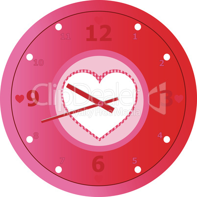 Vector red love Clock with heart shaped in dial plate