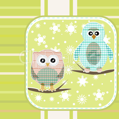 owl and a penguin on a autumn tree branch vector