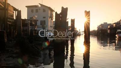 Beautiful sunset over fishing village