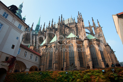 Historical Prague cafedral and tourist walk around