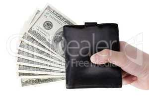 Dollar currency wallet in hand