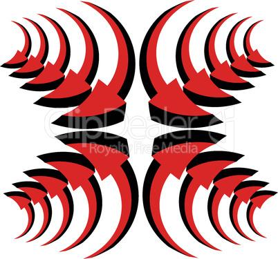 Vector set of red arrows