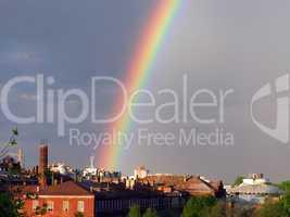 Rainbow multi color image in blue sky rain nature