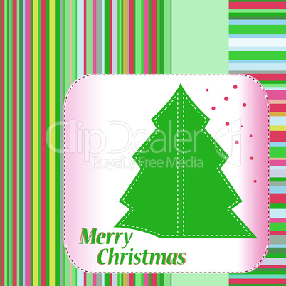 Christmas tree celebration card. Vector illustration