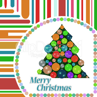 Merry Christmas ball on the tree winter tree. vector
