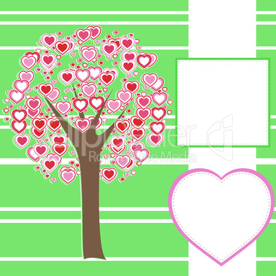 vector stylized love tree made of hearts with a message