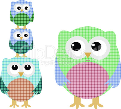 cute owl family isolated on white. vector background