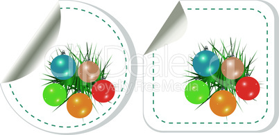 vector set of christmas stickers with new year balls