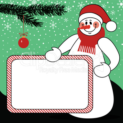 Snowman with billboard christmas vector background