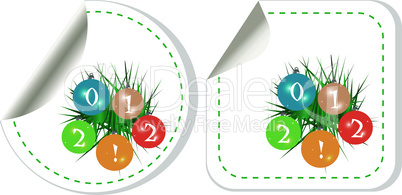 christmas and new year stickers. Labels vector set