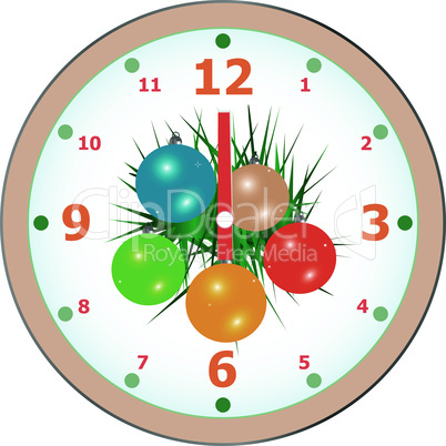 New Year wall clock congratulation card. christmas vector