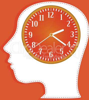 clocks in people head. vector invitation card