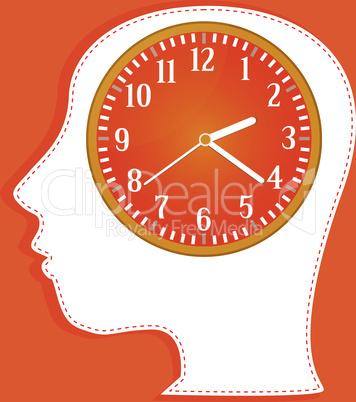clocks in people head. vector invitation card
