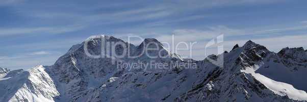 Panorama Caucasus Mountains in winter
