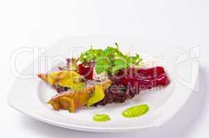 Beetroot horseradish tureen with avocado cream and Pitaya