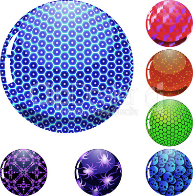 glossy colorful abstract globes