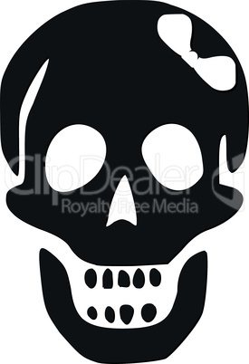 skull with white bow