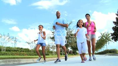 Jogging Fun for Young African American Family